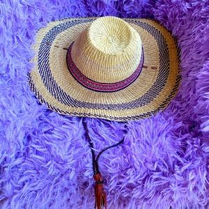 Handwoven Straw Hat Natural Mix Color